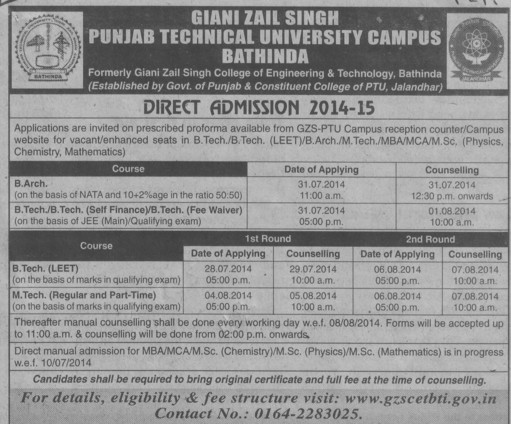 B Tech course (Giani Zail Singh College of Engineering and Technology GZCET)