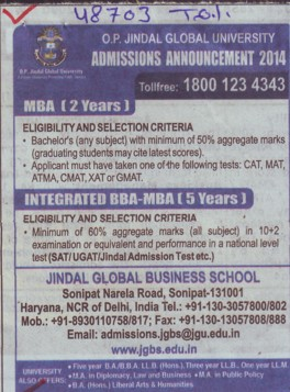 BBA and MBA Programme (OP Jindal Global University)