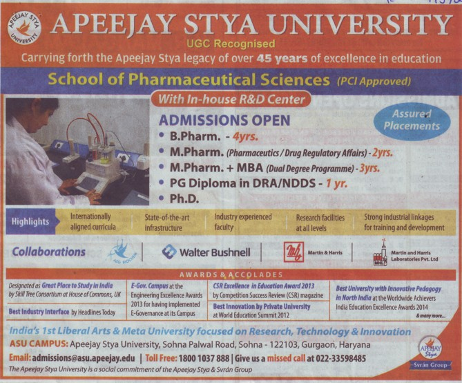 B Pharm and PhD (Apeejay Stya University)