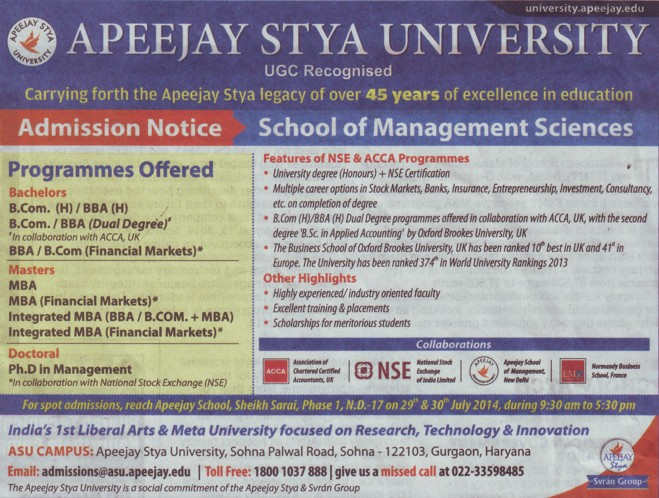 BCom and BBA programme (Apeejay Stya University)