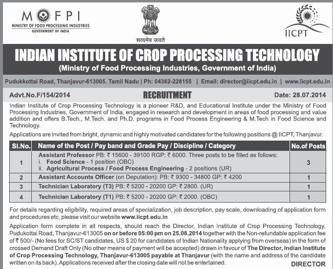 Asstt Professor and Technician Laboratory (Indian Institute of Crop Processing Technology (IICPT))