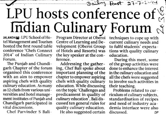 LPU hosts conference of Indian Culinary forum (Lovely Professional University LPU)