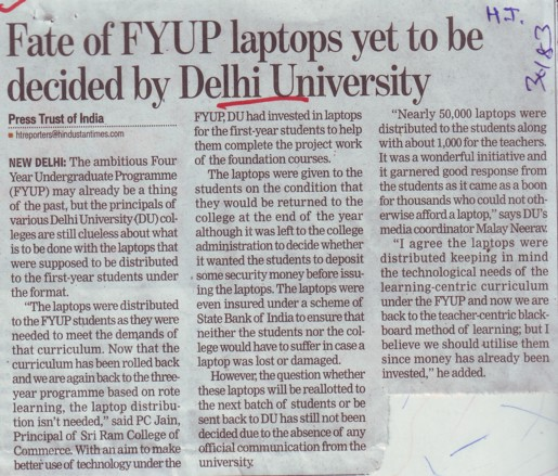 Fate of FYUP laptops yet to be decided by DU (Delhi University)