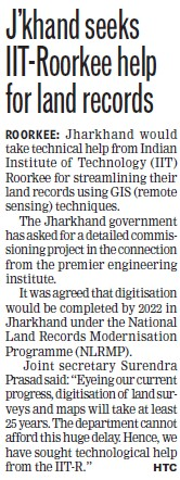 IIT Roorkee help for land records (Indian Institute of Technology (IITR))