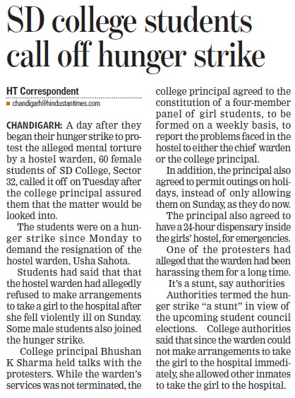 Students call off hunger strike (GGDSD College)