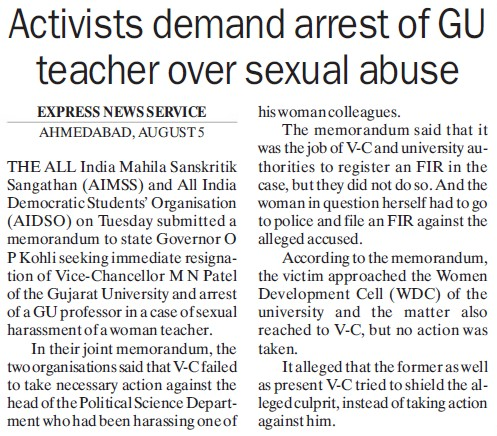 Activists demand arrest of GU teacher over sexual abuse (Gujarat University)