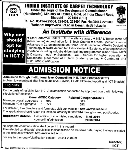 B Tech course (Indian Institute of Carpet Technology)