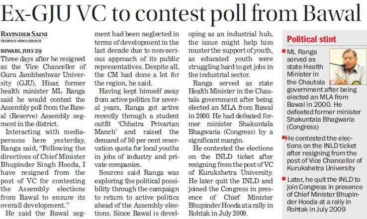 Ex GJU VC to contest poll from Bawal (Guru Jambheshwar University of Science and Technology (GJUST))