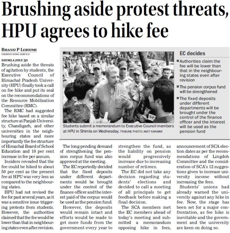 Brushing aside protest threats, HPU agrees to hike fee (Himachal Pradesh University)