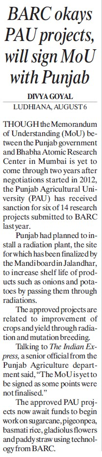 BARC okays PAU projects (Punjab Agricultural University PAU)