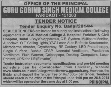 Supply of Ceiling lights (Guru Gobind Singh Medical College)