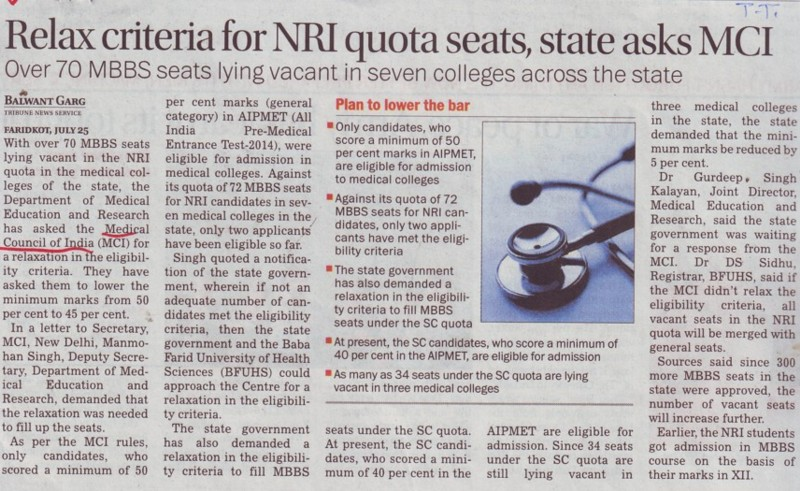Relax criteria for NRI quota seats (Medical Council of India (MCI))
