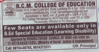 B Ed in Special Education (BCM College of Education)