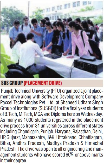 Placement frive held (SUS Group of Institutions)