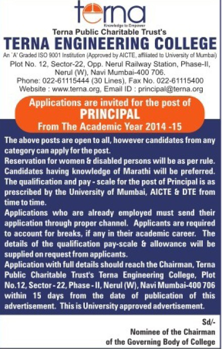 Principal required (Terna Engineering College)