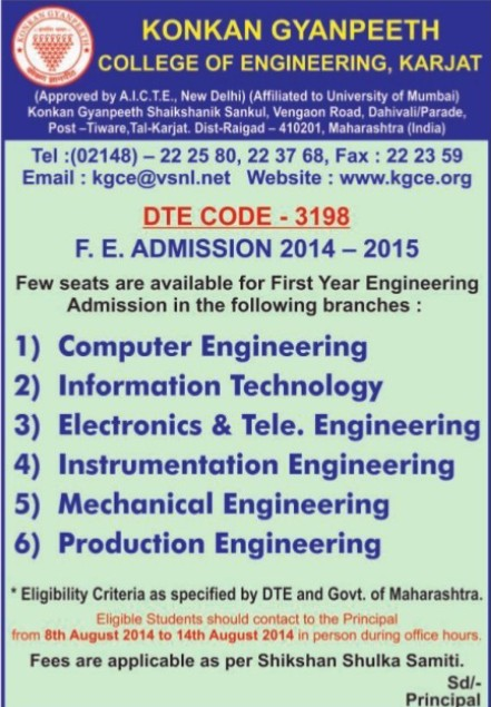 FE in CE and ME (Konkan Gyanpeeth College of Engineering)