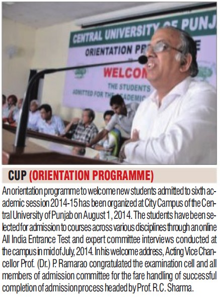 Orientation programme held (Central University of Punjab)