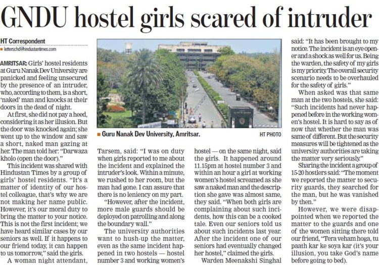 Hostel girl scared of intruder (Guru Nanak Dev University (GNDU))