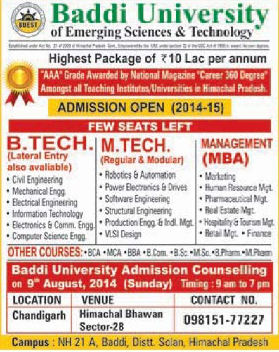 B Tech and M Tech (Baddi University of Emerging Sciences and Technologies)