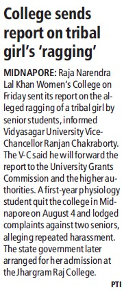 College sends report on tribal girls ragging (Raja NL Khan Womens College)