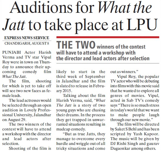 Auditions for what the jatt to take place at LPU (Lovely Professional University LPU)