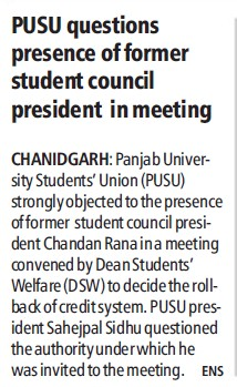 PUSU questions presence of former student council president in meeting (Panjab University Students Union PUSU)