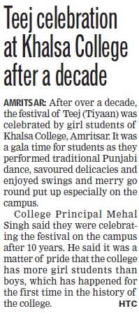 Teej celebration (Khalsa College)