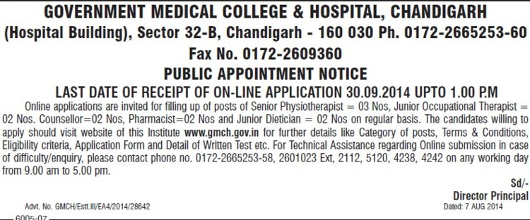 Junior Occupational Therapist (Government Medical College and Hospital (Sector 32))