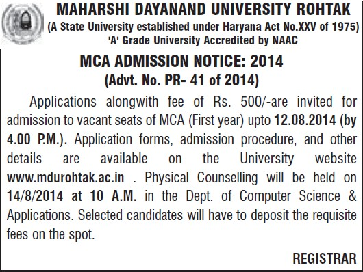 MCA course (Maharshi Dayanand University)