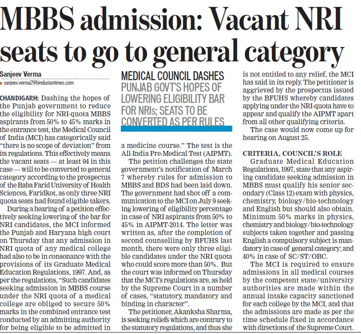 Vacant NRI seats to go general category (Medical Council of India (MCI))