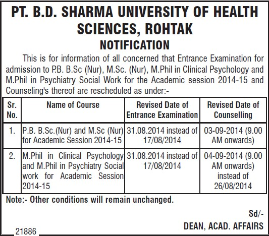 MPhil in Clinical Psychology (Pt BD Sharma University of Health Sciences (BDSUHS))
