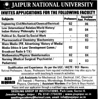 Associate Professor for Mass Media (Jaipur National University)