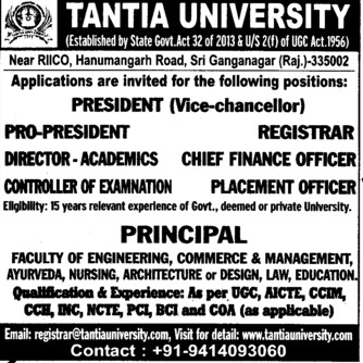 Placement Officer and Chief Finance Officer (Tantia University)