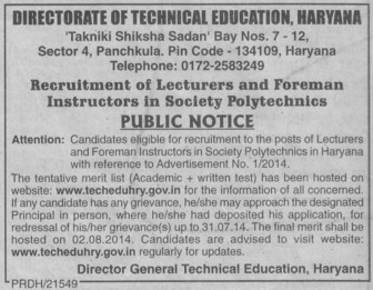 Foreman Instructor (Directorate of Technical Education Haryana)