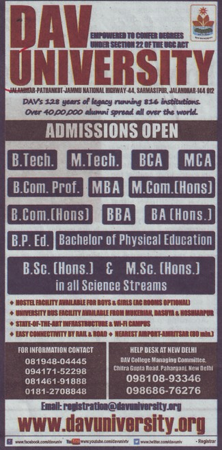 BPEd and M Tech courses (DAV University)