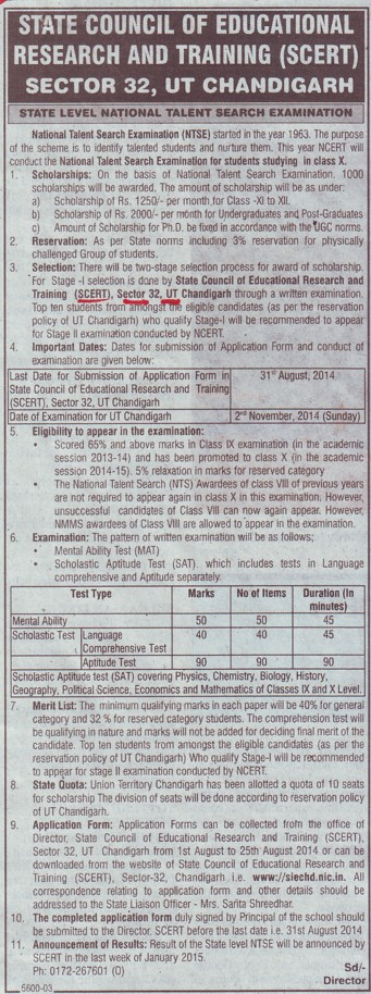 State level National Talent Search Examination (State Council of Education Research and Training (SCERT) UT)