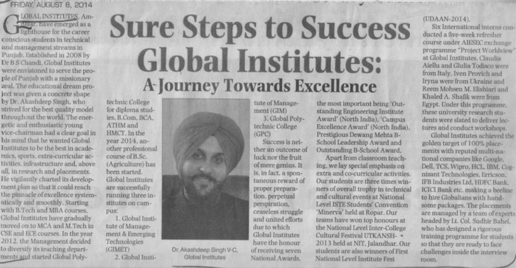 Message of VC Dr Akashdeep Singh (Global Institutes Group)