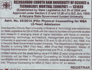 Physical Counselling for MBA (Deenbandhu Chhotu Ram University of Science and Technology)