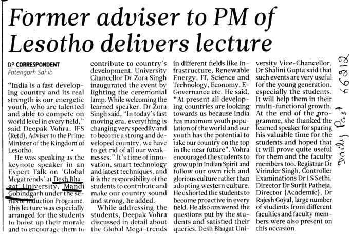 Former adviser to PM of Lesotho delivers lecture (Desh Bhagat University)