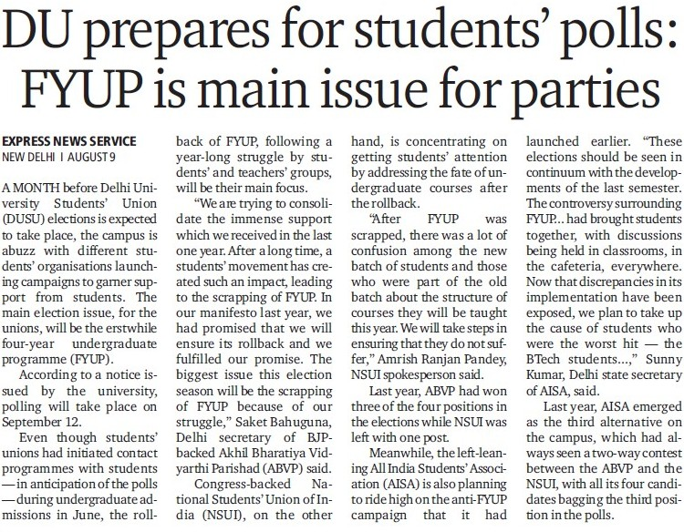 DU prepares for students polls (Delhi University)