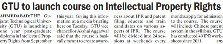 GTU to launch course on intellectual property rights (Gujarat Technological University)