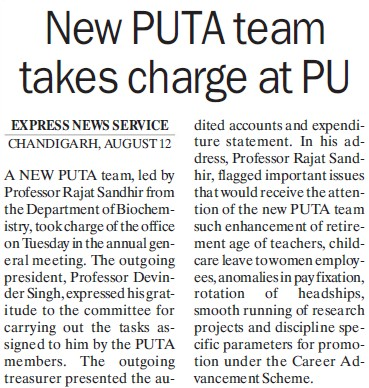 PUTA team takes charge at PU (Panjab University Teachers Association (PUTA))