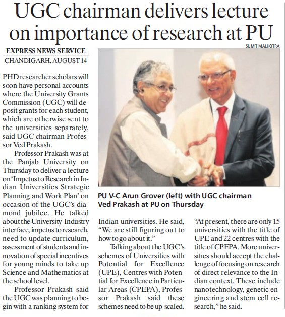 UGC Chairman delivers lecture on importance of research (University Grants Commission (UGC))