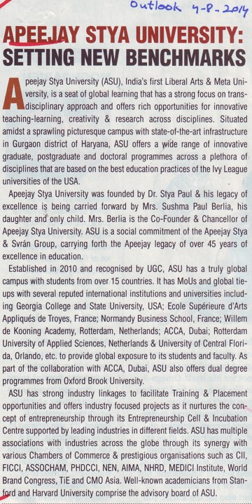 Profile of Apeejay Satya University (Apeejay Stya University)