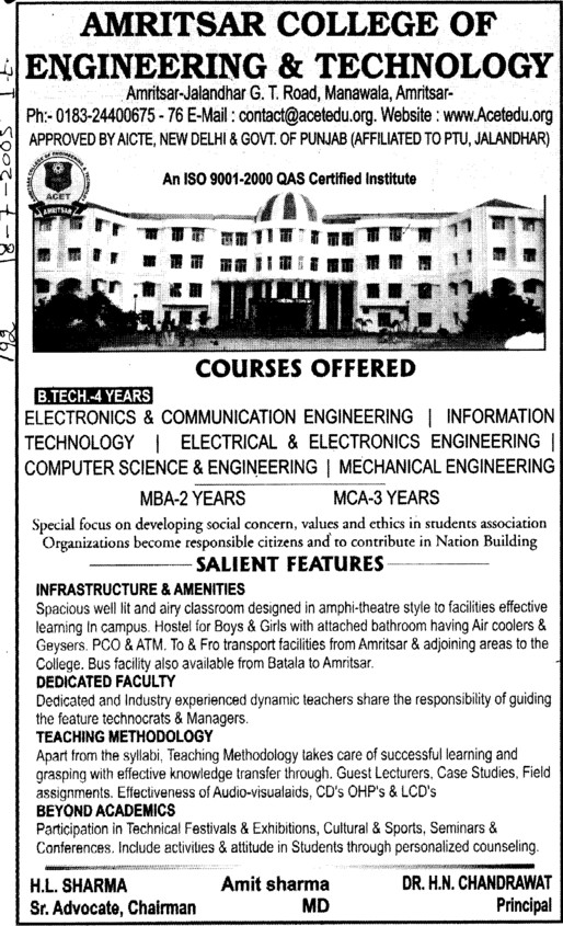 MBA and B Tech (Amritsar College of Engineering and Technology ACET Manawala)