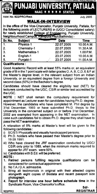 Lecturer for English, Hindi and Punjabi (Punjabi University Neighbourhood Campus)