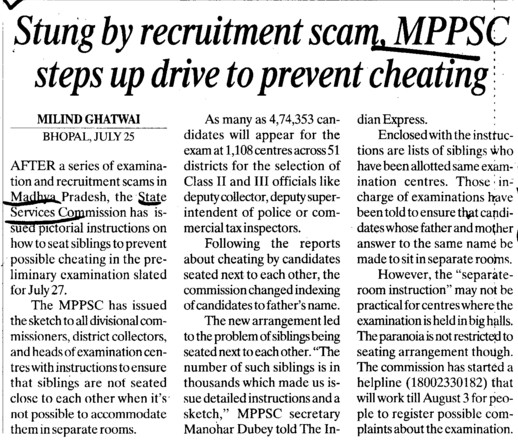 Stung by recruitment scam (Madhya Pradesh Public Service Commission)