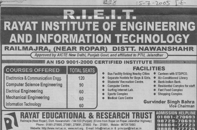 B Tech in ECE and ME (Rayat Institute of Engineering and Information Technology)