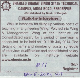 Faculty for Polytechnic and Management wing (Shaheed Bhagat Singh State (SBBS) Technical Campus)