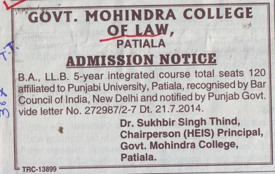 BA and LLB course (Government Mohindra College)